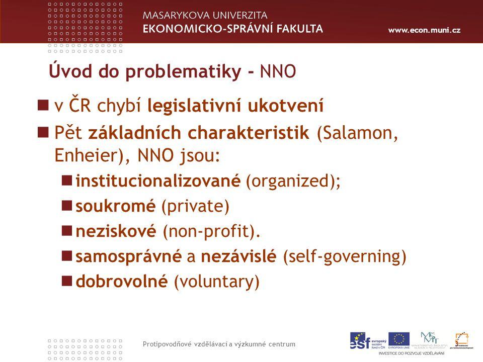 www.econ.muni.cz Úvod do problematiky - NNO v ČR chybí legislativní ukotvení Pět základních charakteristik (Salamon, Enheier), NNO jsou: institucionalizované (organized); soukromé (private) neziskové (non-profit).