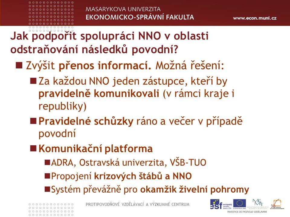 www.econ.muni.cz Jak podpořit spolupráci NNO v oblasti odstraňování následků povodní.