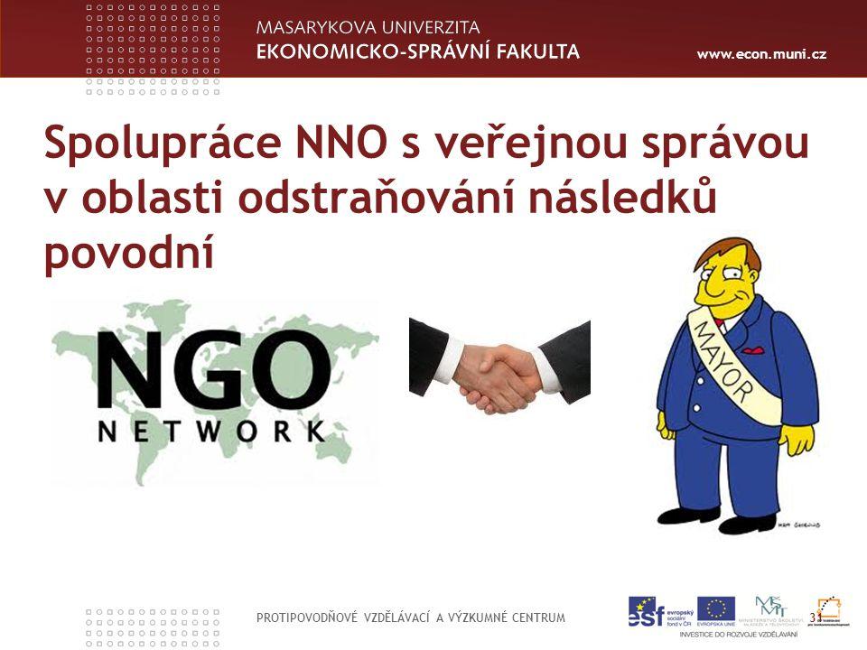 www.econ.muni.cz Spolupráce NNO s veřejnou správou v oblasti odstraňování následků povodní PROTIPOVODŇOVÉ VZDĚLÁVACÍ A VÝZKUMNÉ CENTRUM 31