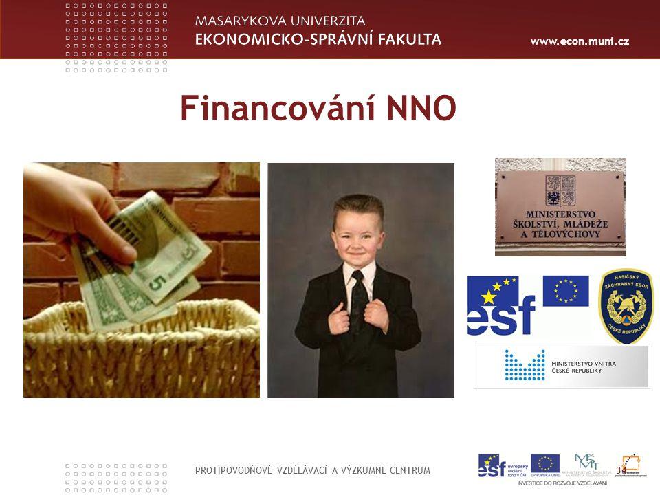 www.econ.muni.cz Financování NNO PROTIPOVODŇOVÉ VZDĚLÁVACÍ A VÝZKUMNÉ CENTRUM 34