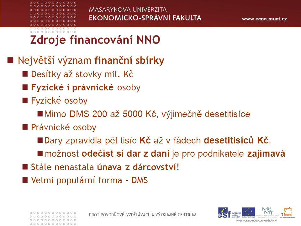 www.econ.muni.cz Zdroje financování NNO PROTIPOVODŇOVÉ VZDĚLÁVACÍ A VÝZKUMNÉ CENTRUM 35 Největší význam finanční sbírky Desítky až stovky mil.
