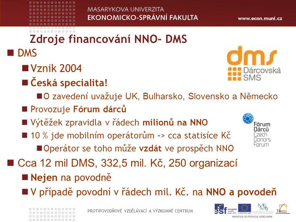 www.econ.muni.cz Zdroje financování NNO- DMS PROTIPOVODŇOVÉ VZDĚLÁVACÍ A VÝZKUMNÉ CENTRUM 36 DMS Vznik 2004 Česká specialita.