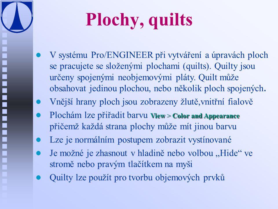 Plochy, quilts V systému Pro/ENGINEER při vytváření a úpravách ploch se pracujete se složenými plochami (quilts).