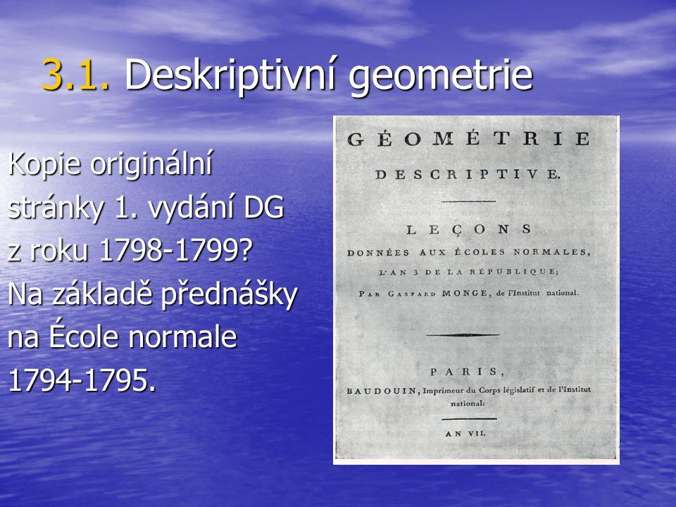 3.1. Deskriptivní geometrie Kopie originální stránky 1. vydání DG z roku 1798-1799? Na základě přednášky na École normale 1794-1795.