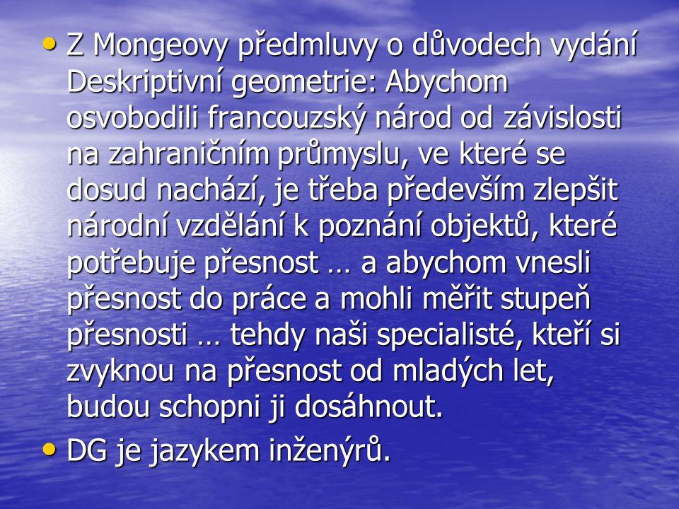 Z Mongeovy předmluvy o důvodech vydání Deskriptivní geometrie: Abychom osvobodili francouzský národ od závislosti na zahraničním průmyslu, ve které se