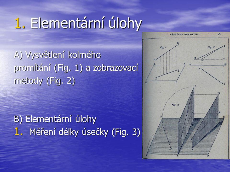 1. Elementární úlohy A) Vysvětlení kolmého promítání (Fig. 1) a zobrazovací metody (Fig. 2) B) Elementární úlohy 1. Měření délky úsečky (Fig. 3)