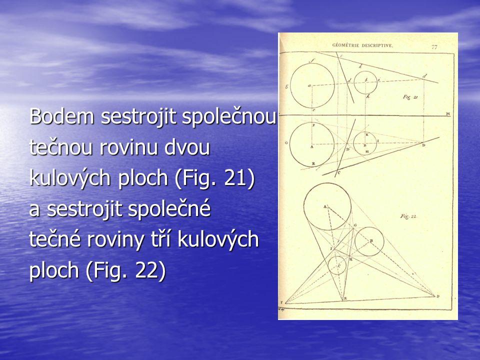 Bodem sestrojit společnou tečnou rovinu dvou kulových ploch (Fig. 21) a sestrojit společné tečné roviny tří kulových ploch (Fig. 22)