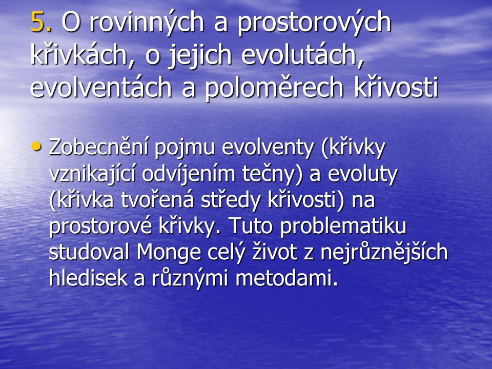 5. O rovinných a prostorových křivkách, o jejich evolutách, evolventách a poloměrech křivosti Zobecnění pojmu evolventy (křivky vznikající odvíjením t