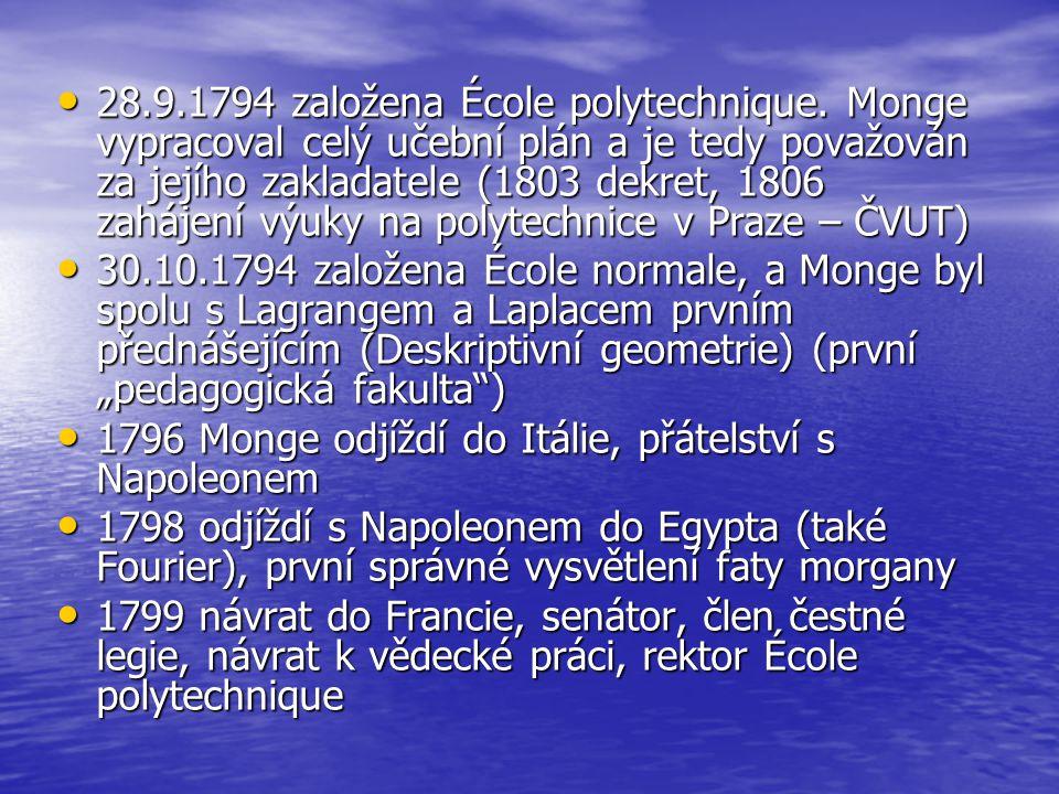 28.9.1794 založena École polytechnique. Monge vypracoval celý učební plán a je tedy považován za jejího zakladatele (1803 dekret, 1806 zahájení výuky