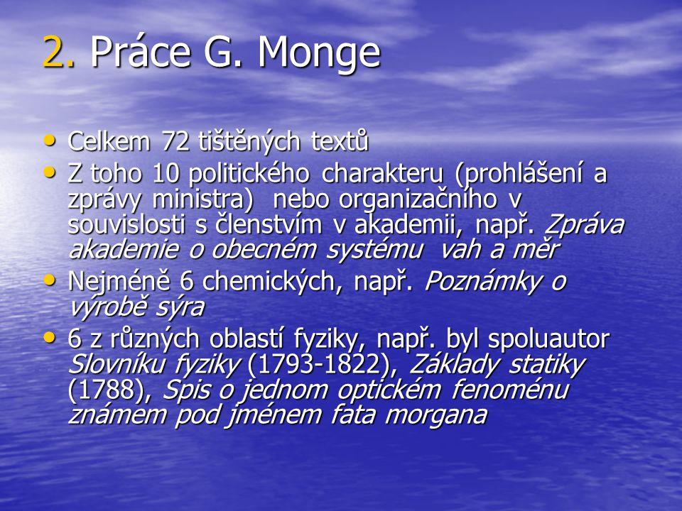 2. Práce G. Monge Celkem 72 tištěných textů Celkem 72 tištěných textů Z toho 10 politického charakteru (prohlášení a zprávy ministra) nebo organizační