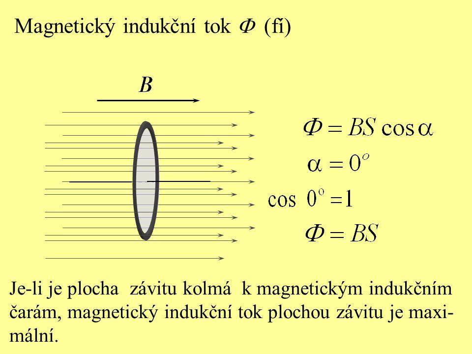 Je-li je plocha závitu kolmá k magnetickým indukčním čarám, magnetický indukční tok plochou závitu je maxi- mální. Magnetický indukční tok  (fí)