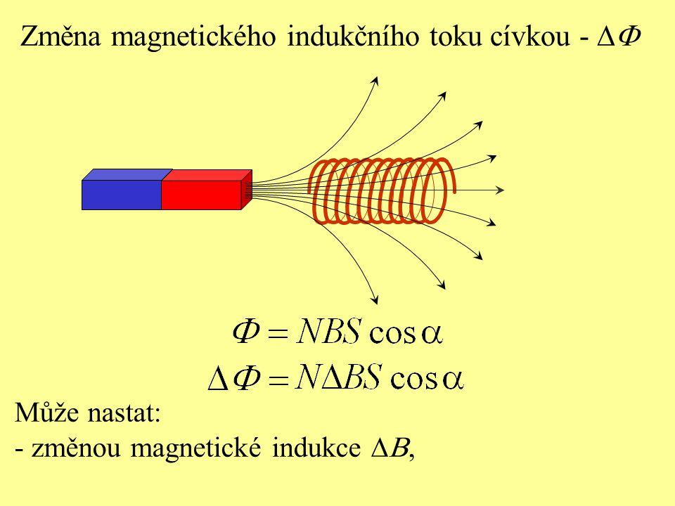 Změna magnetického indukčního toku cívkou -  Může nastat: - změnou magnetické indukce 