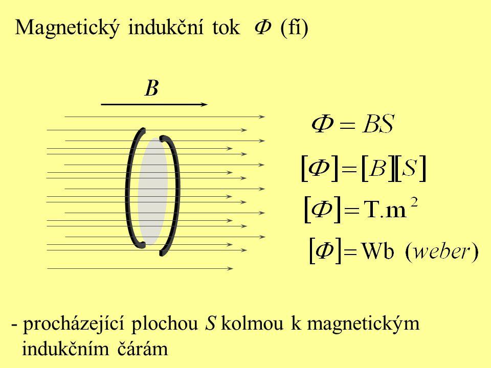 - procházející plochou S kolmou k magnetickým indukčním čárám Magnetický indukční tok  (fí)