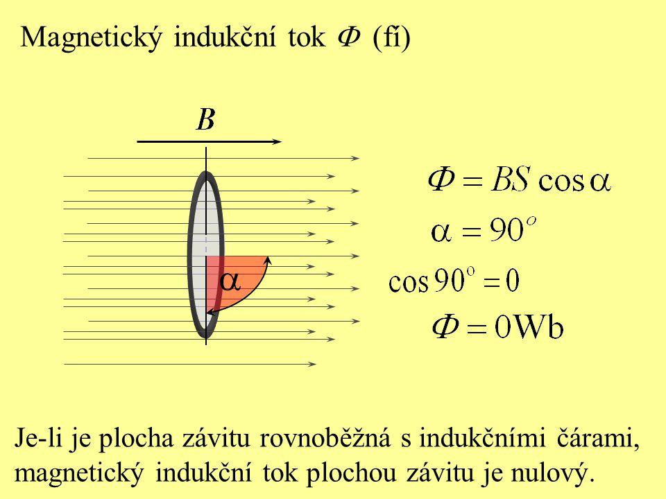 Je-li je plocha závitu rovnoběžná s indukčními čárami, magnetický indukční tok plochou závitu je nulový.  Magnetický indukční tok  (fí)