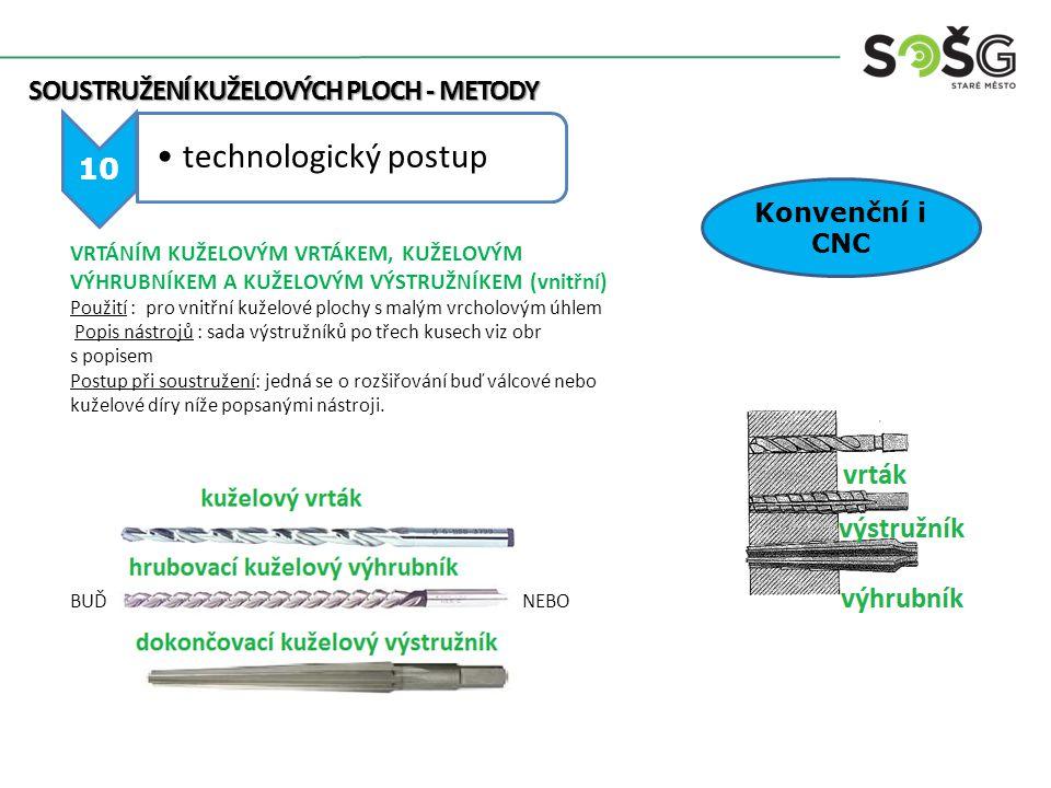 SOUSTRUŽENÍ KUŽELOVÝCH PLOCH - METODY SOUSTRUŽENÍ KUŽELOVÝCH PLOCH - METODY 10 technologický postup Konvenční i CNC VRTÁNÍM KUŽELOVÝM VRTÁKEM, KUŽELOV