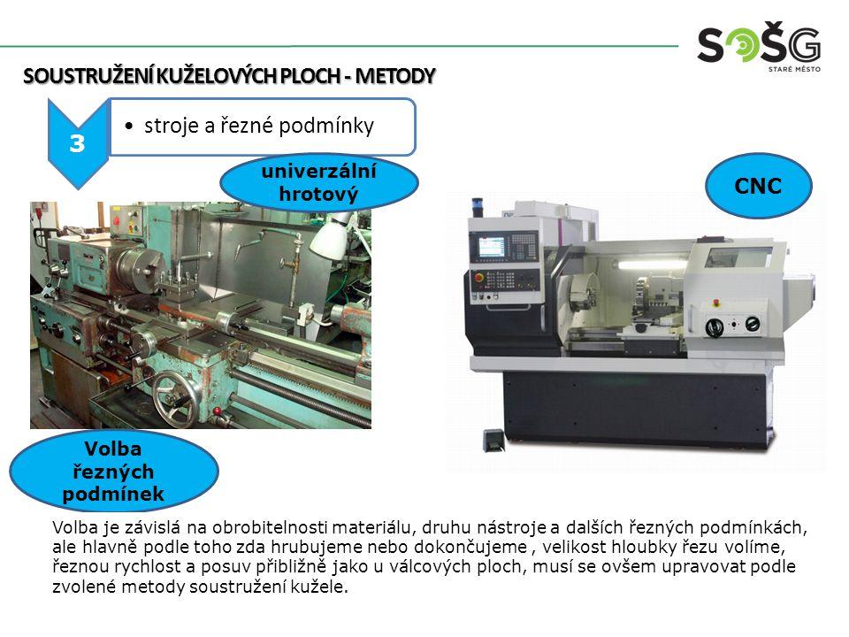 SOUSTRUŽENÍ KUŽELOVÝCH PLOCH - METODY SOUSTRUŽENÍ KUŽELOVÝCH PLOCH - METODY 3 stroje a řezné podmínky CNC univerzální hrotový Volba řezných podmínek V