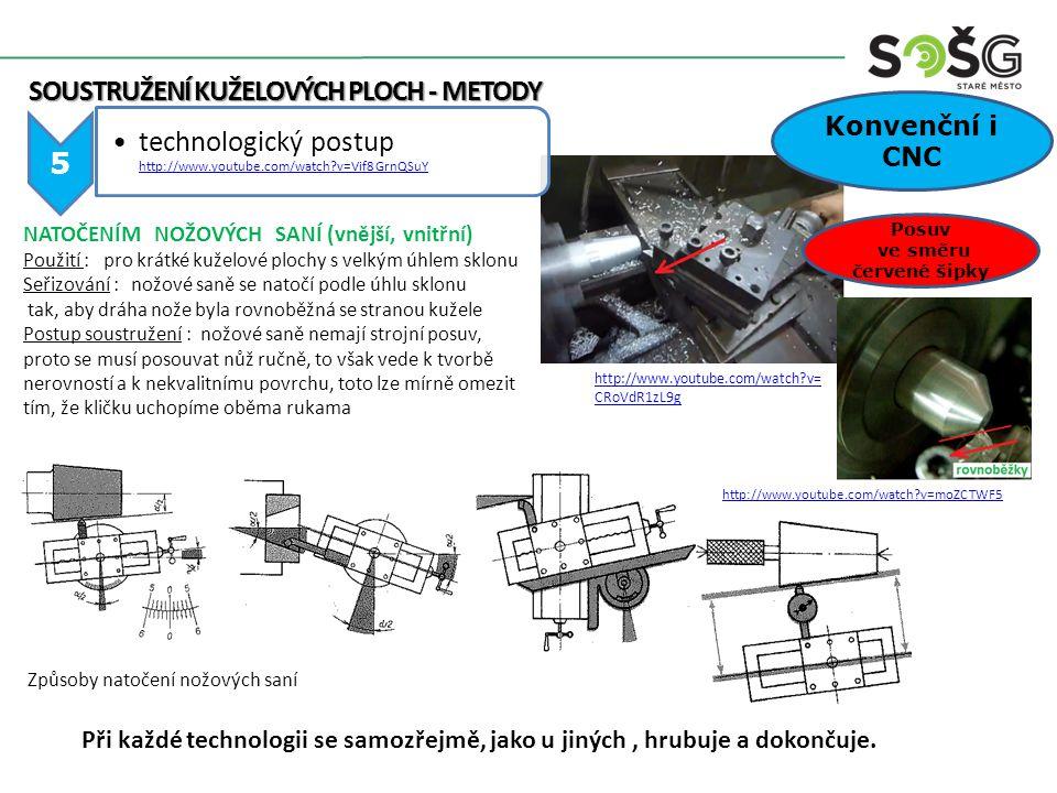 5 technologický postup http://www.youtube.com/watch?v=Vif8GrnQSuY http://www.youtube.com/watch?v=Vif8GrnQSuY SOUSTRUŽENÍ KUŽELOVÝCH PLOCH - METODY SOU