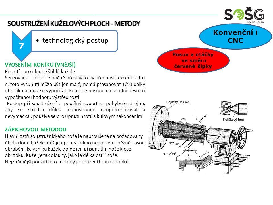 SOUSTRUŽENÍ KUŽELOVÝCH PLOCH - METODY SOUSTRUŽENÍ KUŽELOVÝCH PLOCH - METODY 7 technologický postup Posuv a otáčky ve směru červené šipky Konvenční i C