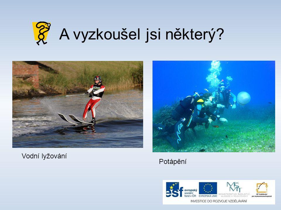 Vodní lyžování Potápění A vyzkoušel jsi některý?