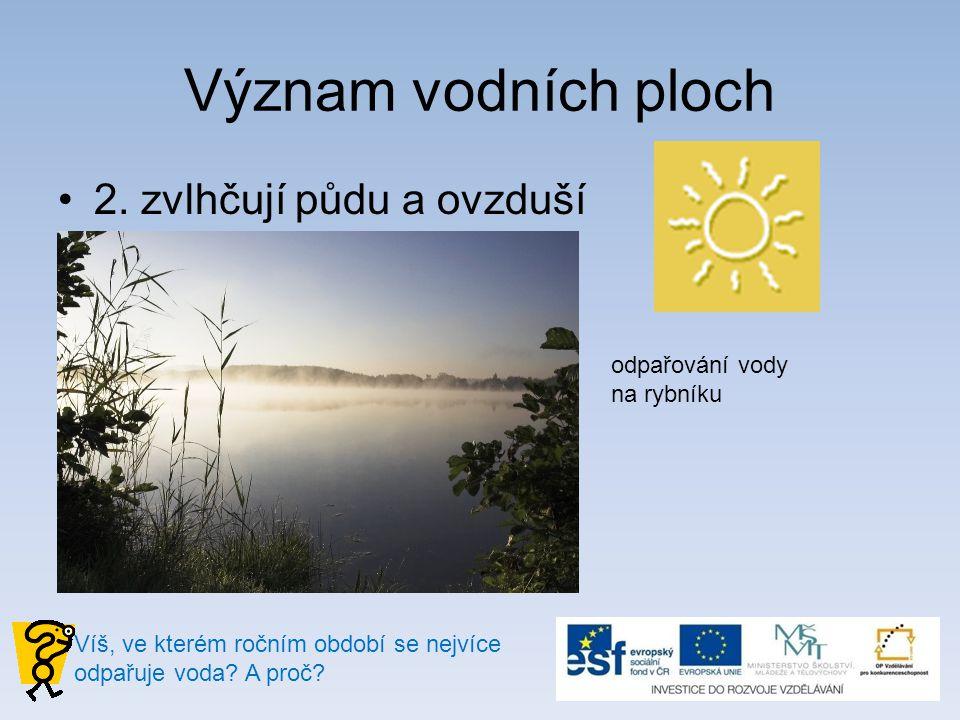 Význam vodních ploch 2. zvlhčují půdu a ovzduší odpařování vody na rybníku Víš, ve kterém ročním období se nejvíce odpařuje voda? A proč?