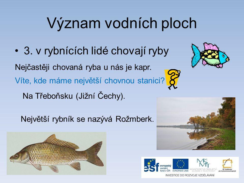 Význam vodních ploch 3. v rybnících lidé chovají ryby Nejčastěji chovaná ryba u nás je kapr. Víte, kde máme největší chovnou stanici? Na Třeboňsku (Ji