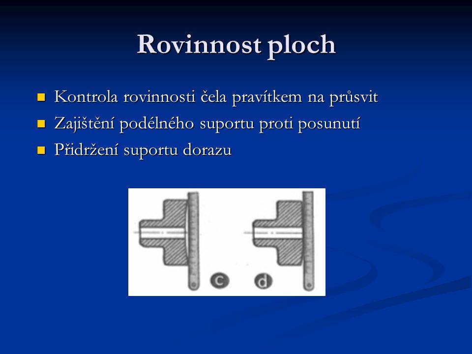 Měření délek a osazení Ustavení soustružnického nože (pravý - R) Měření délky osazení ocelovým měřítkem, posuvným měřítkem, hloubkoměrem, šablonou Odběr třísky při rotačním pohybu materiálu Posuvný pohyb řezného nástroje