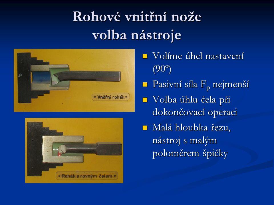 Rohové vnitřní nože volba nástroje Volíme úhel nastavení (90º) Pasivní síla F p nejmenší Volba úhlu čela při dokončovací operaci Malá hloubka řezu, ná