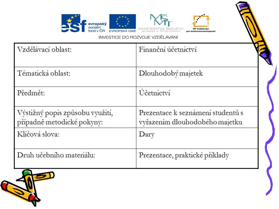 Vzdělávací oblast: Finanční účetnictví Tématická oblast: Dlouhodobý majetek Předmět:Účetnictví Výstižný popis způsobu využití, případně metodické poky