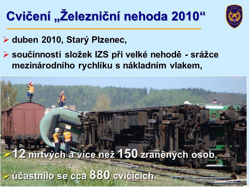 """Cvičení """"Železniční nehoda 2010""""  duben 2010, Starý Plzenec,  součinnosti složek IZS při velké nehodě - srážce mezinárodního rychlíku s nákladním vl"""