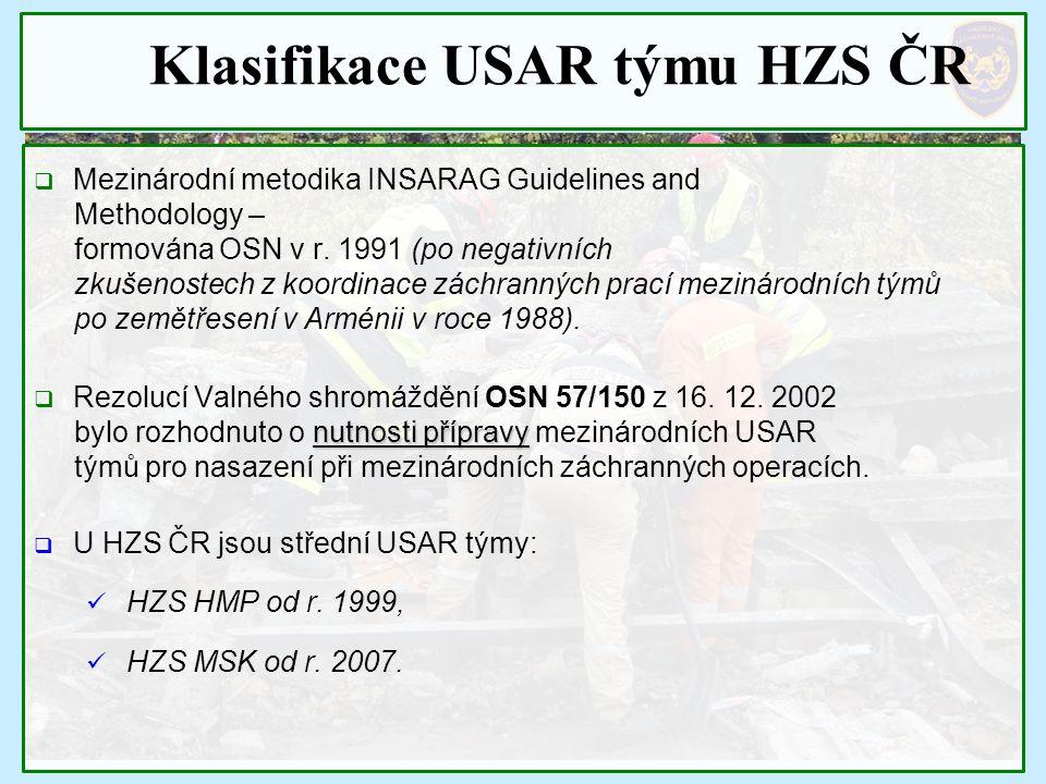 Klasifikace USAR týmu HZS ČR  Mezinárodní metodika INSARAG Guidelines and Methodology – formována OSN v r. 1991 (po negativních zkušenostech z koordi