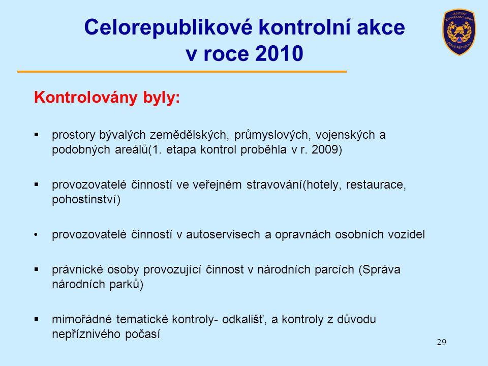 29 Celorepublikové kontrolní akce v roce 2010 Kontrolovány byly:  prostory bývalých zemědělských, průmyslových, vojenských a podobných areálů(1. etap