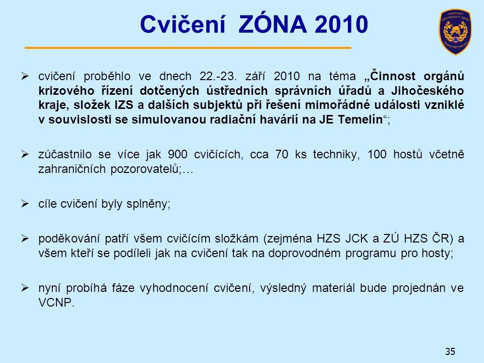 """Cvičení ZÓNA 2010  cvičení proběhlo ve dnech 22.-23. září 2010 na téma """"Činnost orgánů krizového řízení dotčených ústředních správních úřadů a Jihoče"""