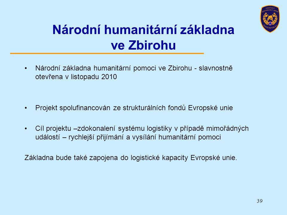Národní humanitární základna ve Zbirohu Národní základna humanitární pomoci ve Zbirohu - slavnostně otevřena v listopadu 2010 Projekt spolufinancován