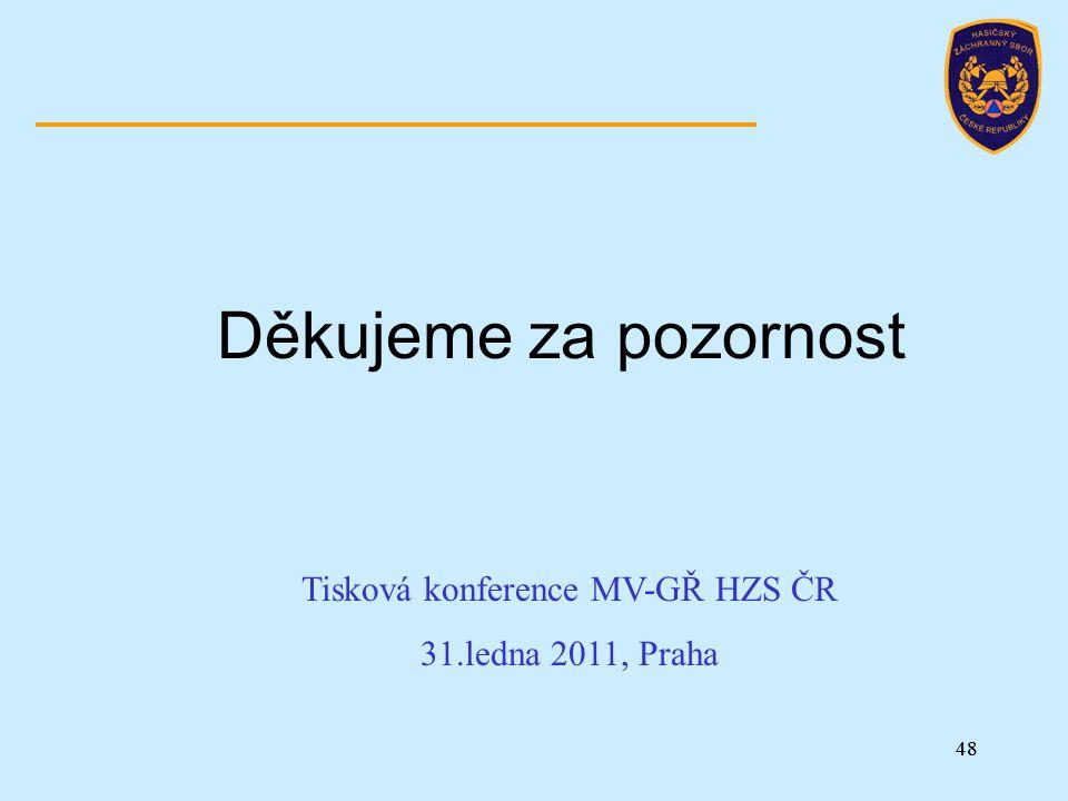 48 Děkujeme za pozornost Tisková konference MV-GŘ HZS ČR 31.ledna 2011, Praha