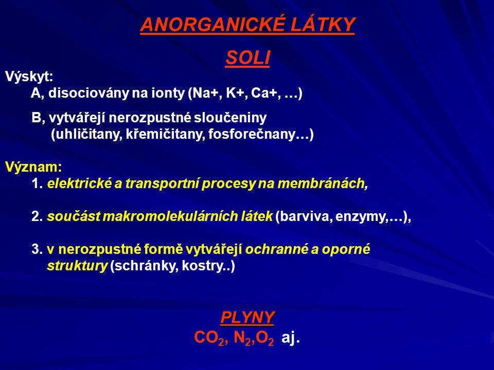 ANORGANICKÉ LÁTKY SOLI Výskyt: A, disociovány na ionty (Na+, K+, Ca+, …) B, vytvářejí nerozpustné sloučeniny (uhličitany, křemičitany, fosforečnany…)