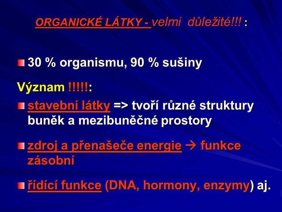 ORGANICKÉ LÁTKY - : ORGANICKÉ LÁTKY - velmi důležité!!! : 30 % organismu, 90 % sušiny Význam !!!!!: stavební látky => tvoří různé struktury buněk a me
