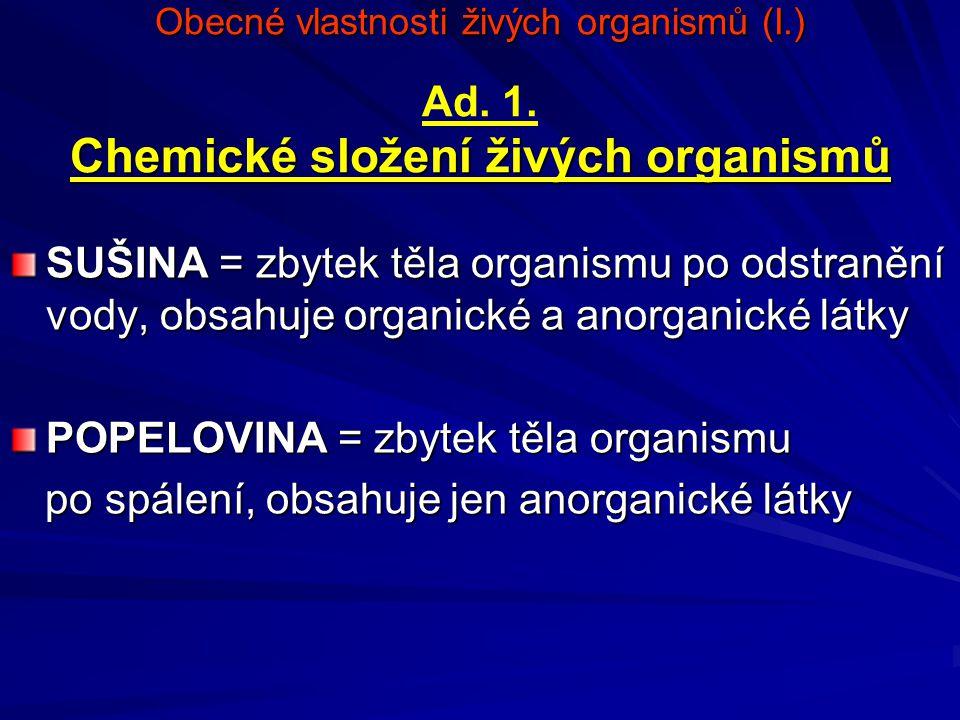 Obecné vlastnosti živých organismů (I.) Chemické složení živých organismů Obecné vlastnosti živých organismů (I.) Ad. 1. Chemické složení živých organ