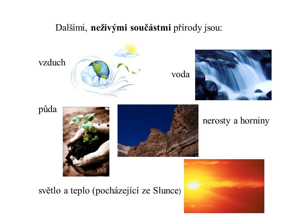 Dalšími, neživými součástmi přírody jsou: vzduch voda půda nerosty a horniny světlo a teplo (pocházející ze Slunce )