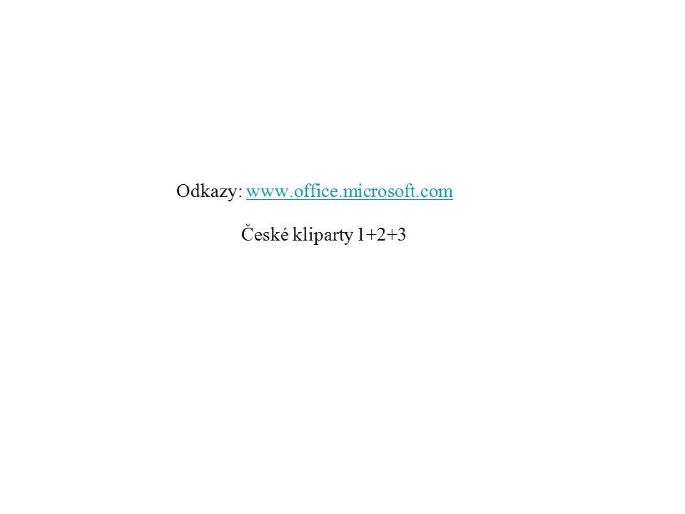 Odkazy: www.office.microsoft.comwww.office.microsoft.com České kliparty 1+2+3