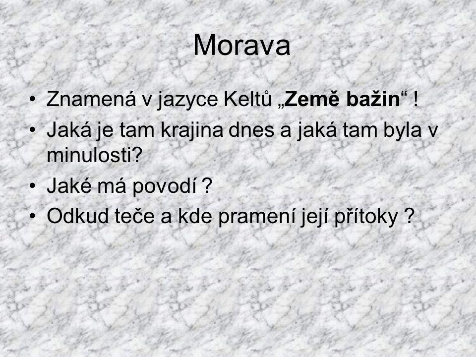 """Morava Znamená v jazyce Keltů """"Země bažin .Jaká je tam krajina dnes a jaká tam byla v minulosti."""
