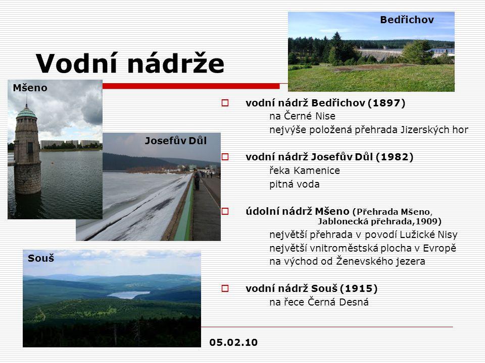 Vodní nádrže  vodní nádrž Bedřichov (1897) na Černé Nise nejvýše položená přehrada Jizerských hor  vodní nádrž Josefův Důl (1982) řeka Kamenice pitn