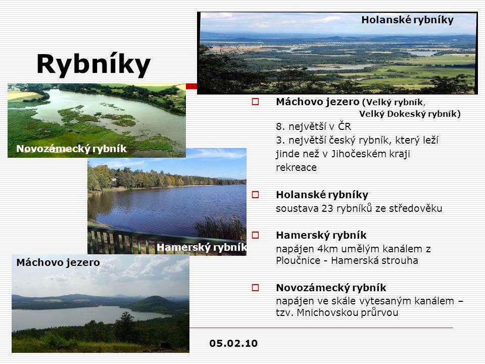 Rybníky  Máchovo jezero (Velký rybník, Velký Dokeský rybník) 8. největší v ČR 3. největší český rybník, který leží jinde než v Jihočeském kraji rekre