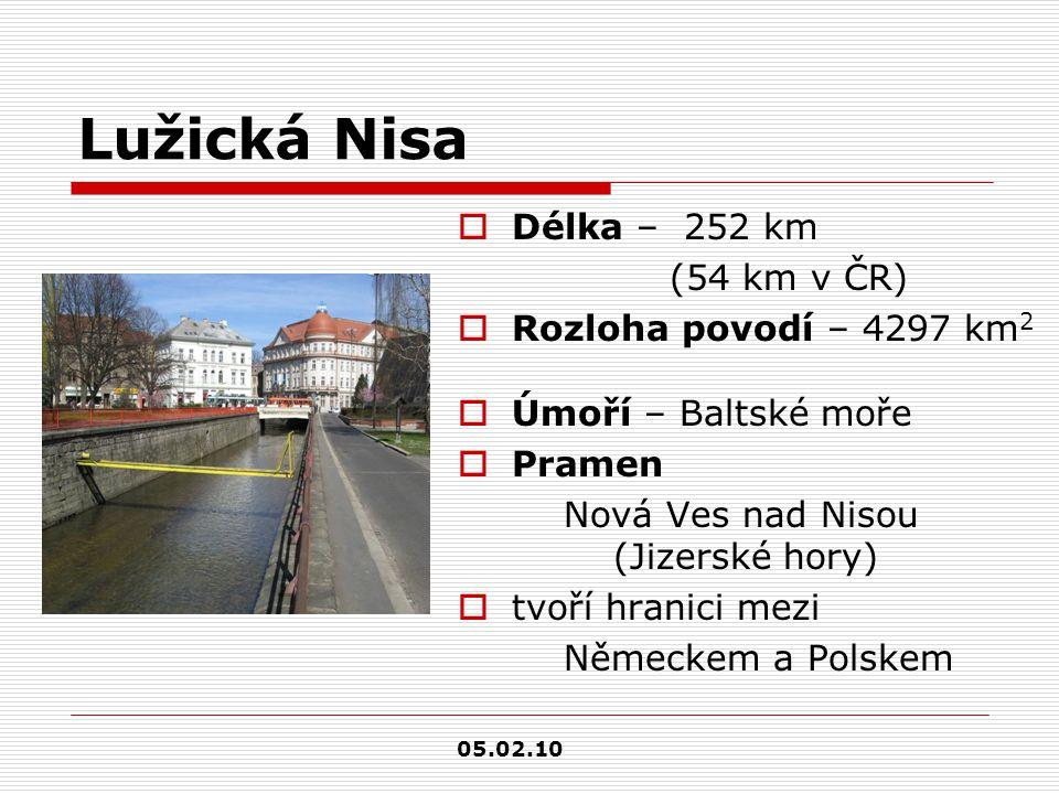 Lužická Nisa  Délka – 252 km (54 km v ČR)  Rozloha povodí – 4297 km 2  Úmoří – Baltské moře  Pramen Nová Ves nad Nisou (Jizerské hory)  tvoří hra
