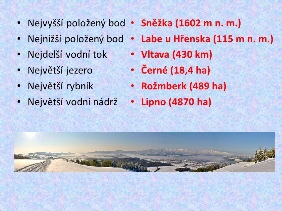 Nejvyšší položený bod Nejnižší položený bod Nejdelší vodní tok Největší jezero Největší rybník Největší vodní nádrž Sněžka (1602 m n.