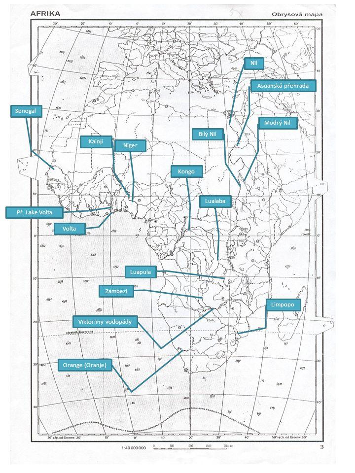 Nil Asuanská přehrada Modrý Nil Bílý Nil Niger Kainji Kongo Lualaba Luapula Zambezi Viktoriiny vodopády Orange (Oranje) Limpopo Senegal Volta Př. Lake