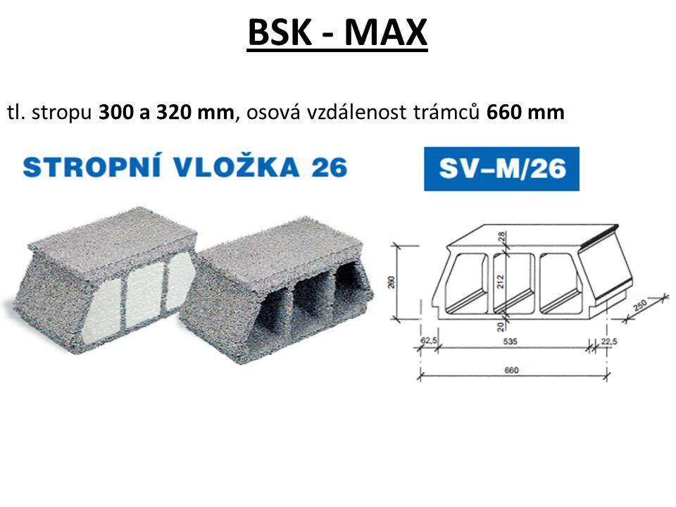 BSK - MAX tl. stropu 300 a 320 mm, osová vzdálenost trámců 660 mm