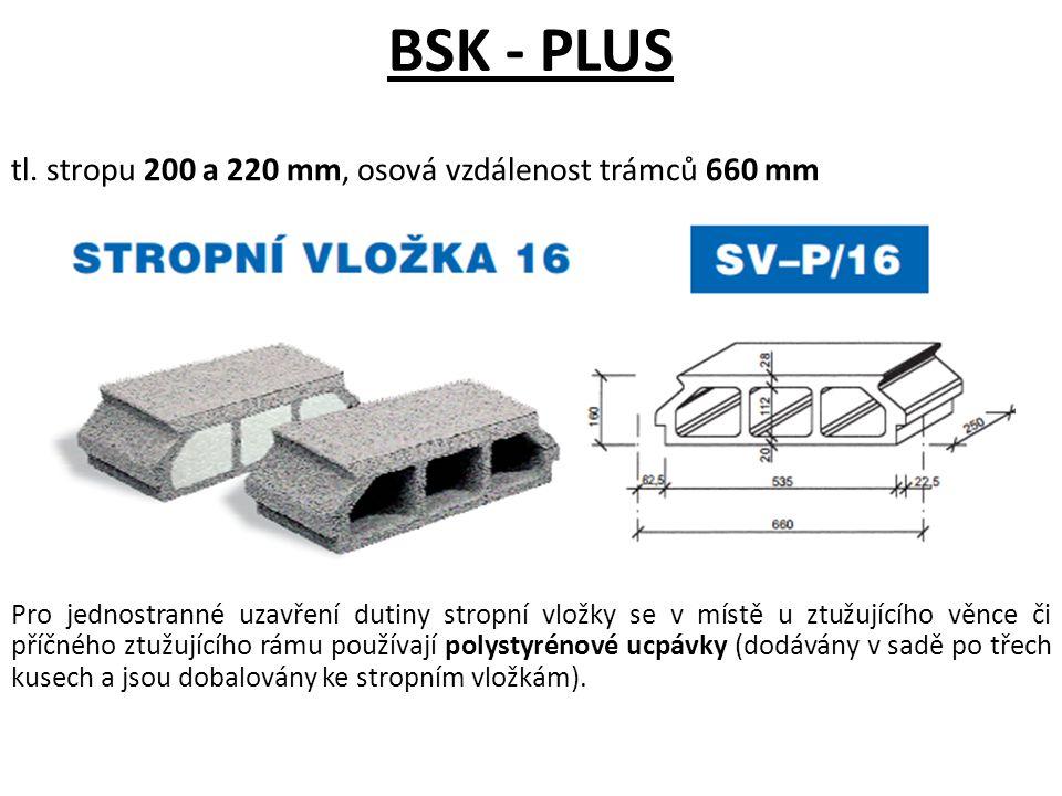 BSK - PLUS tl. stropu 200 a 220 mm, osová vzdálenost trámců 660 mm Pro jednostranné uzavření dutiny stropní vložky se v místě u ztužujícího věnce či p