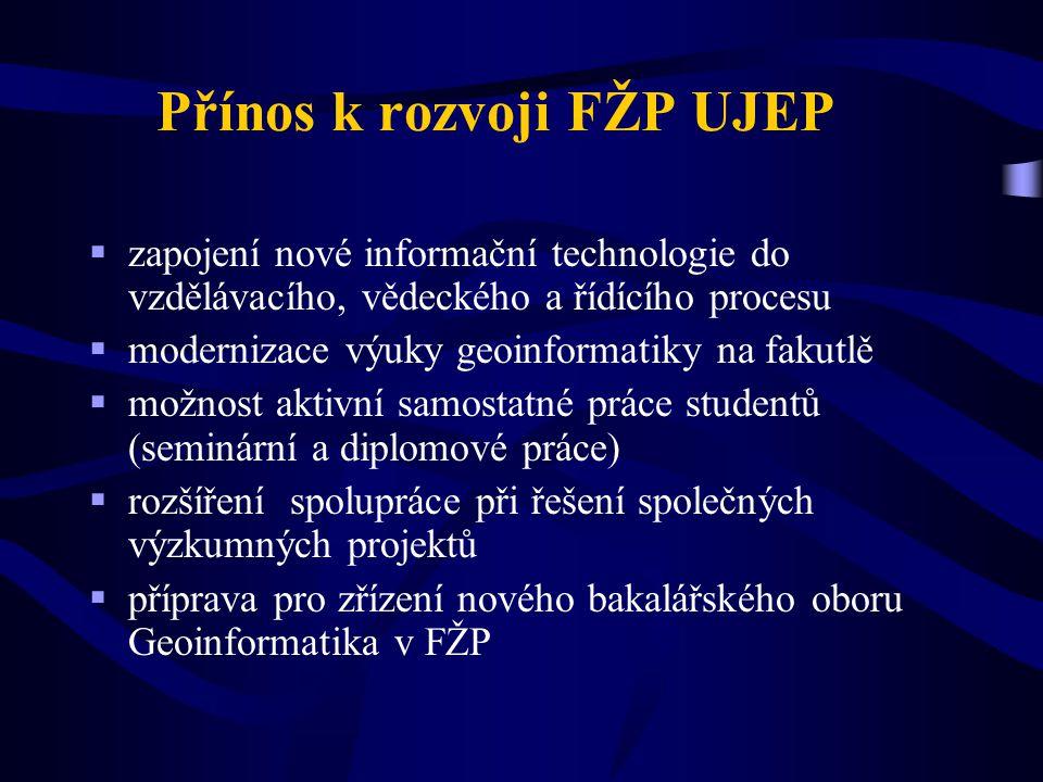 Přínos k rozvoji FŽP UJEP  zapojení nové informační technologie do vzdělávacího, vědeckého a řídícího procesu  modernizace výuky geoinformatiky na f