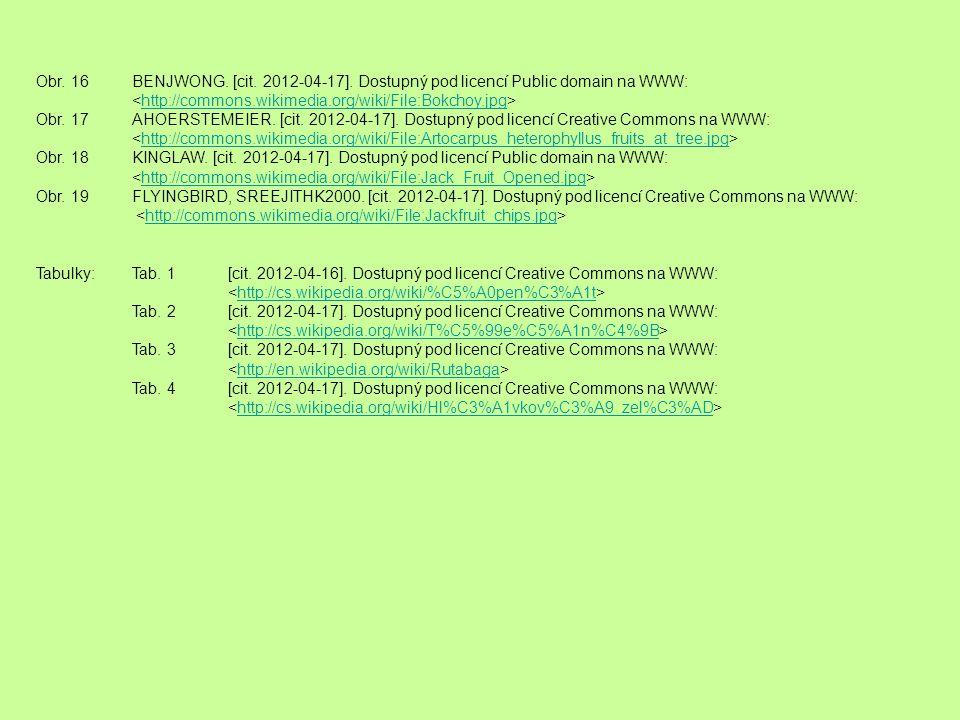 Obr. 16BENJWONG. [cit. 2012-04-17]. Dostupný pod licencí Public domain na WWW: http://commons.wikimedia.org/wiki/File:Bokchoy.jpg Obr. 17AHOERSTEMEIER