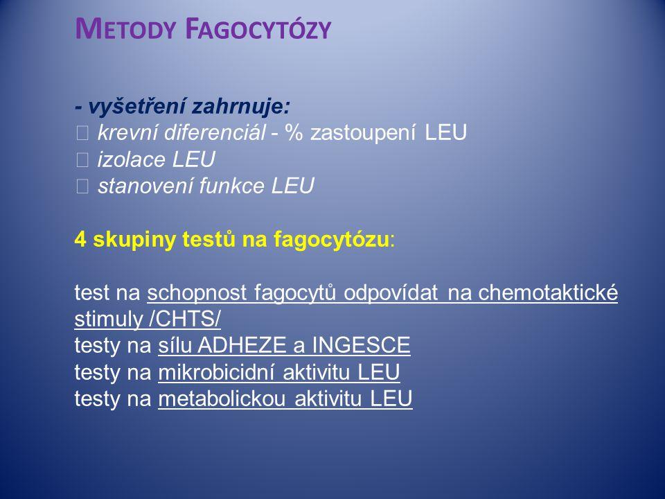  M ETODY F AGOCYTÓZY - vyšetření zahrnuje:  krevní diferenciál - % zastoupení LEU  izolace LEU  stanovení funkce LEU 4 skupiny testů na fagocytózu: test na schopnost fagocytů odpovídat na chemotaktické stimuly /CHTS/ testy na sílu ADHEZE a INGESCE testy na mikrobicidní aktivitu LEU testy na metabolickou aktivitu LEU